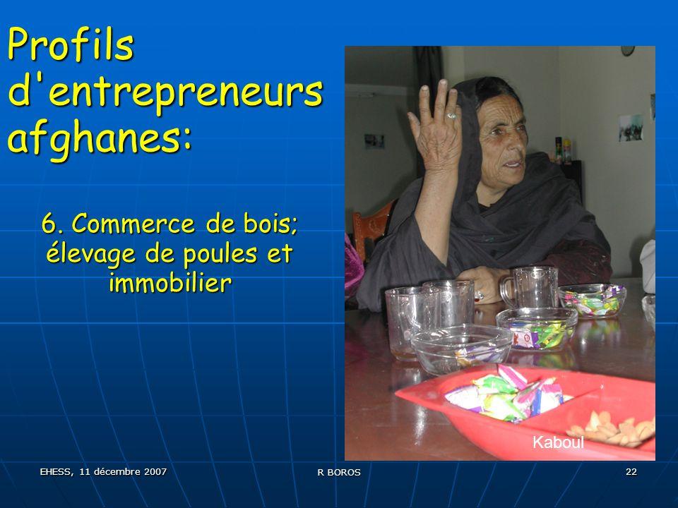 EHESS, 11 décembre 2007 R BOROS 22 Profils d entrepreneurs afghanes: 6.