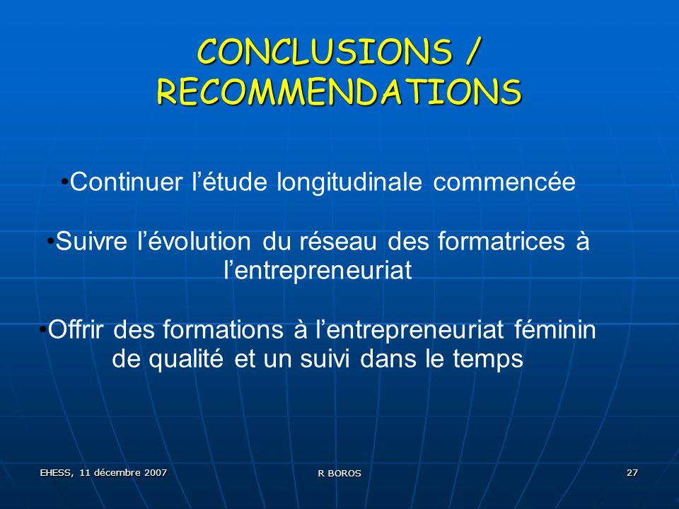EHESS, 11 décembre 2007 R BOROS 27 CONCLUSIONS / RECOMMENDATIONS Continuer létude longitudinale commencée Suivre lévolution du réseau des formatrices à lentrepreneuriat Offrir des formations à lentrepreneuriat féminin de qualité et un suivi dans le temps