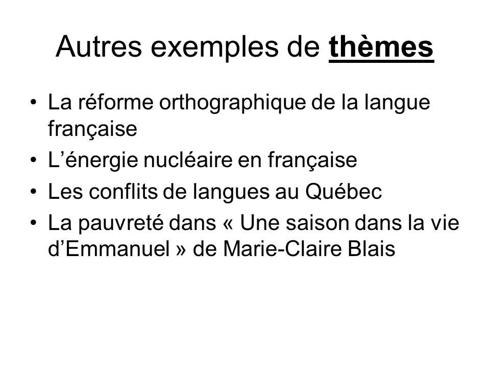 Autres exemples de thèmes La réforme orthographique de la langue française Lénergie nucléaire en française Les conflits de langues au Québec La pauvre
