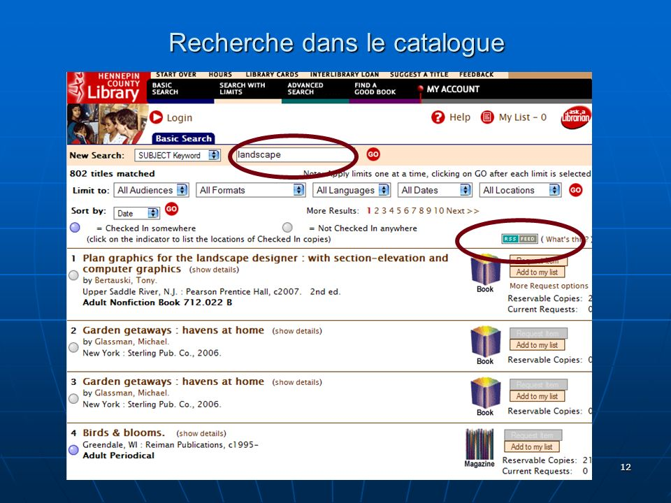 Bibliobsession 6/10/2006 by-nc-sa 12 Recherche dans le catalogue