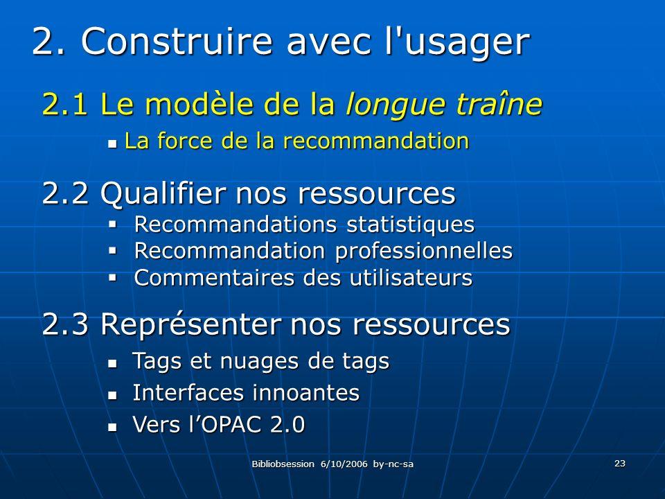 Bibliobsession 6/10/2006 by-nc-sa 23 2.1 Le modèle de la longue traîne La force de la recommandation La force de la recommandation 2.