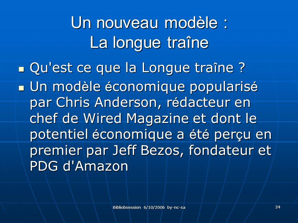 Bibliobsession 6/10/2006 by-nc-sa 24 Un nouveau modèle : La longue traîne Qu est ce que la Longue tra î ne .