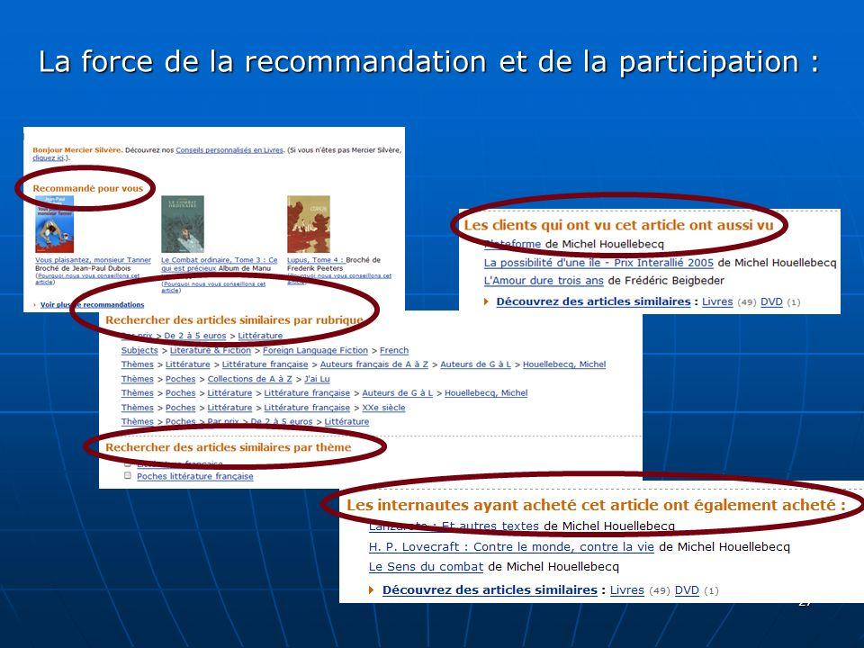 27 La force de la recommandation et de la participation :