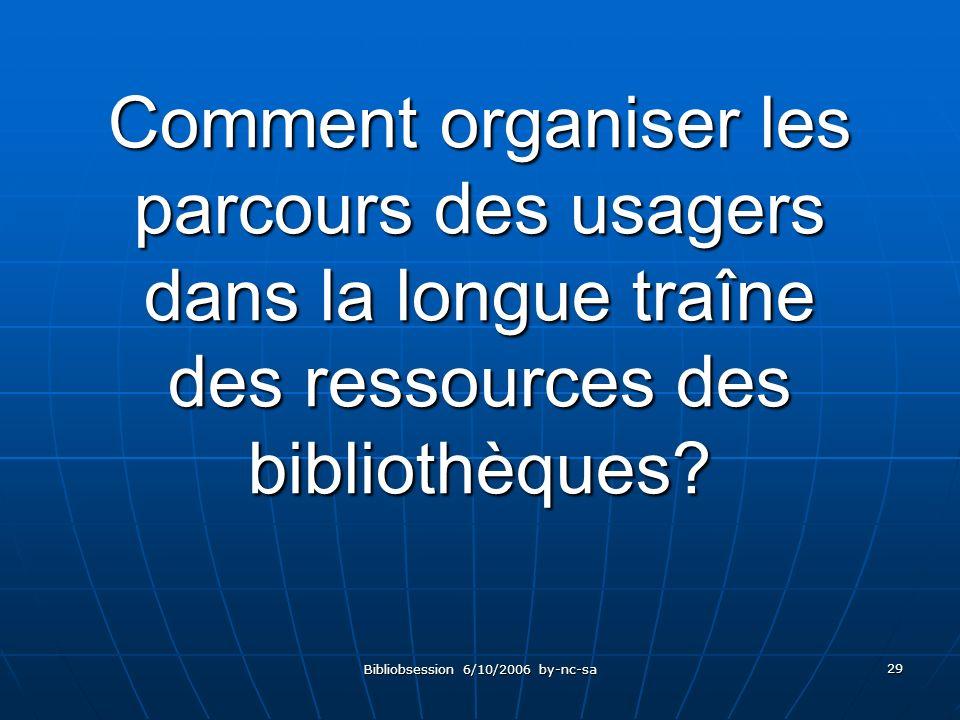 Bibliobsession 6/10/2006 by-nc-sa 29 Comment organiser les parcours des usagers dans la longue traîne des ressources des bibliothèques