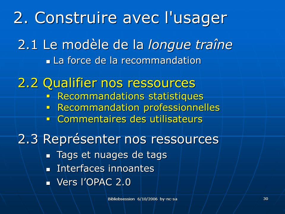 Bibliobsession 6/10/2006 by-nc-sa 30 2.1 Le modèle de la longue traîne La force de la recommandation La force de la recommandation 2.