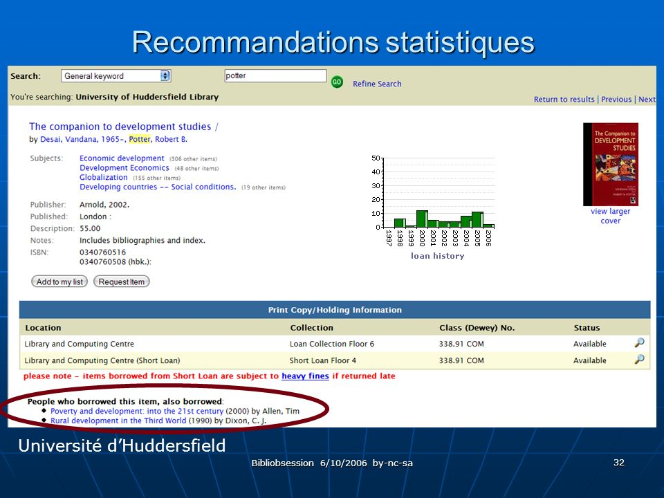 Bibliobsession 6/10/2006 by-nc-sa 32 Recommandations statistiques Université dHuddersfield