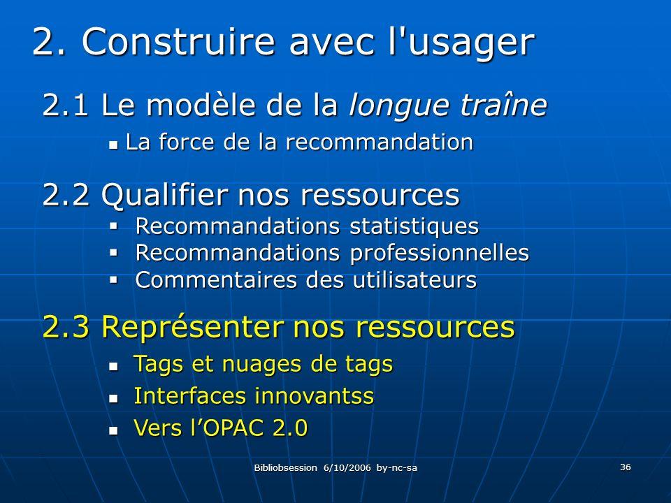 Bibliobsession 6/10/2006 by-nc-sa 36 2.1 Le modèle de la longue traîne La force de la recommandation La force de la recommandation 2.
