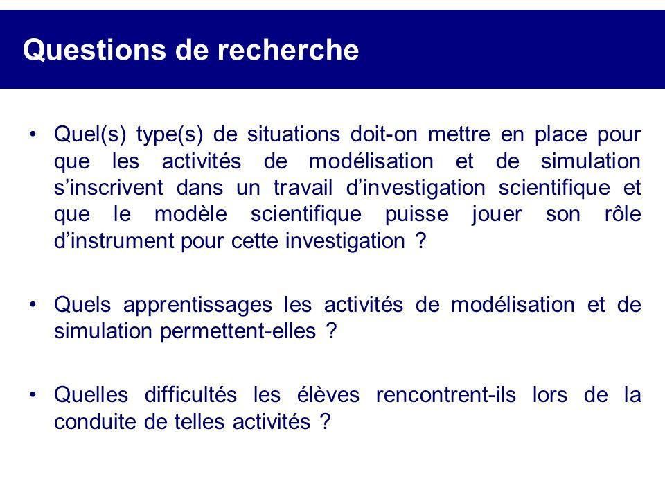 Questions de recherche Quel(s) type(s) de situations doit-on mettre en place pour que les activités de modélisation et de simulation sinscrivent dans