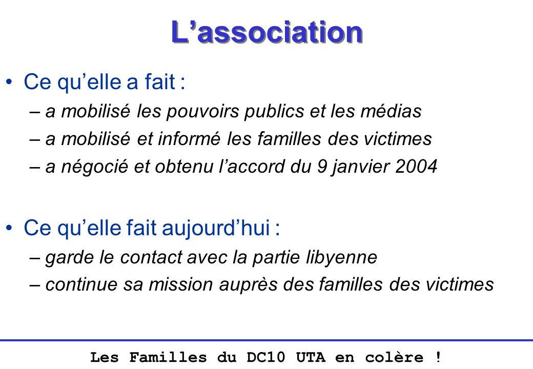 Lassociation Ce quelle a fait : –a mobilisé les pouvoirs publics et les médias –a mobilisé et informé les familles des victimes –a négocié et obtenu l