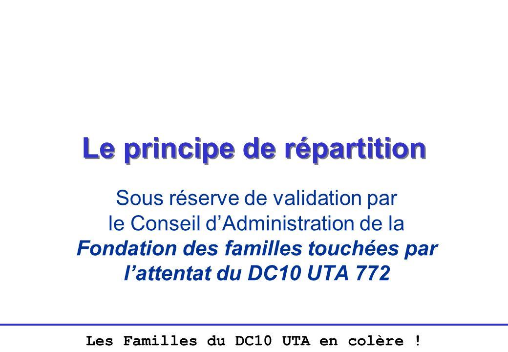 Les Familles du DC10 UTA en colère ! Le principe de répartition Sous réserve de validation par le Conseil dAdministration de la Fondation des familles