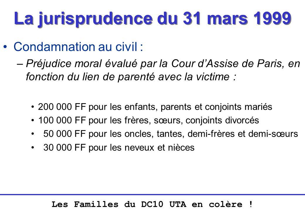 Les Familles du DC10 UTA en colère ! La jurisprudence du 31 mars 1999 Condamnation au civil : –Préjudice moral évalué par la Cour dAssise de Paris, en