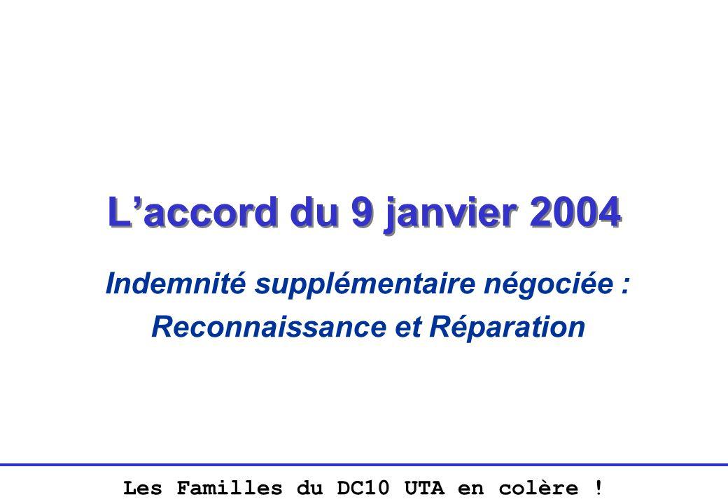 Les Familles du DC10 UTA en colère ! Laccord du 9 janvier 2004 Indemnité supplémentaire négociée : Reconnaissance et Réparation