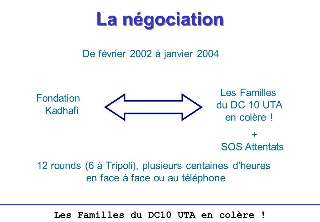 Les Familles du DC10 UTA en colère ! La négociation De février 2002 à janvier 2004 Fondation Kadhafi Les Familles du DC 10 UTA en colère ! + SOS Atten