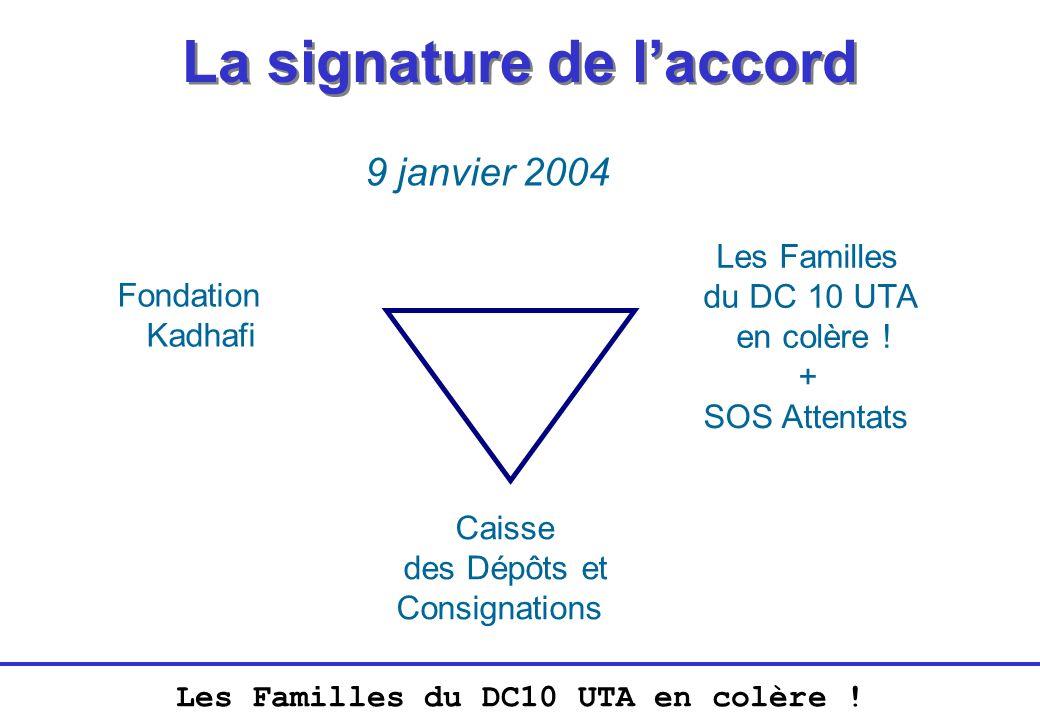 Les Familles du DC10 UTA en colère ! La signature de laccord 9 janvier 2004 Fondation Kadhafi Les Familles du DC 10 UTA en colère ! Caisse des Dépôts