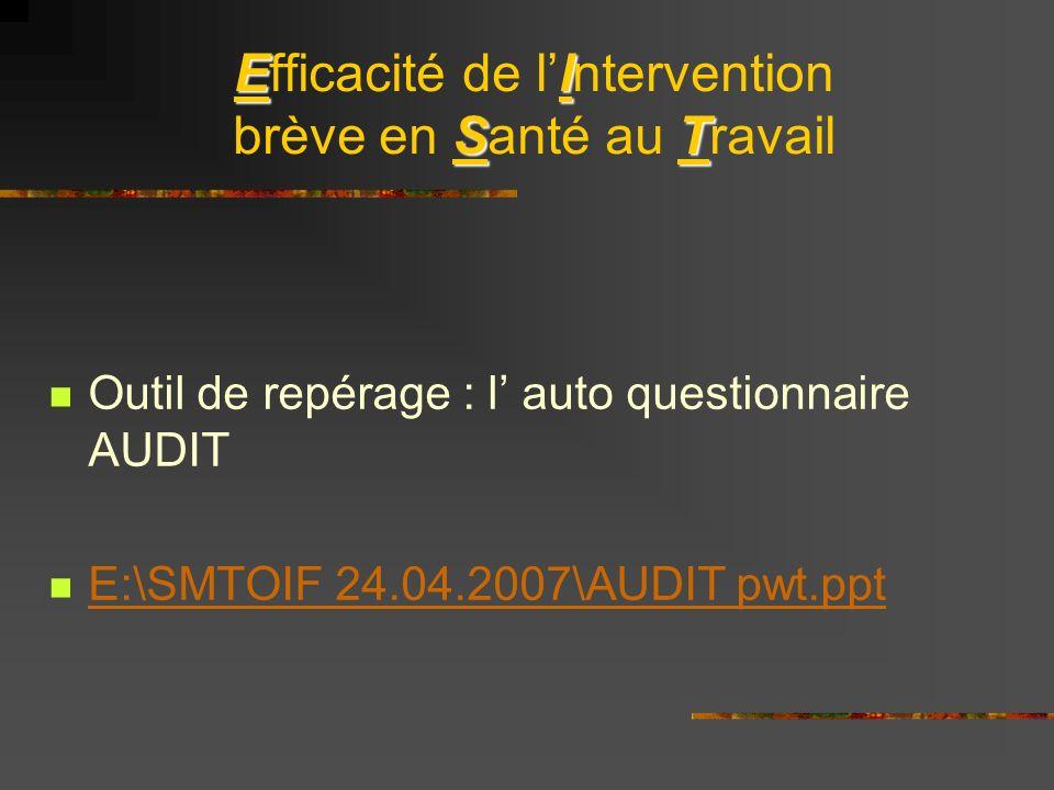 EI ST Efficacité de lIntervention brève en Santé au Travail Outil de repérage : l auto questionnaire AUDIT E:\SMTOIF 24.04.2007\AUDIT pwt.ppt