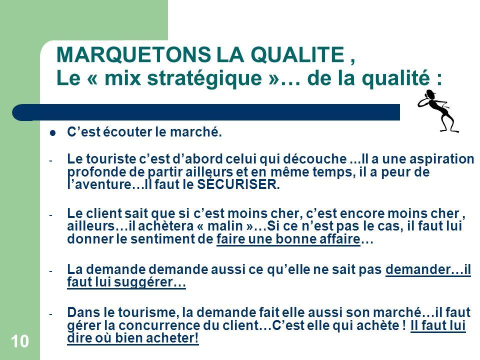 10 MARQUETONS LA QUALITE, Le « mix stratégique »… de la qualité : Cest écouter le marché.