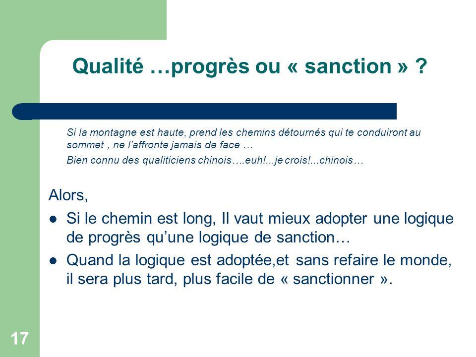 17 Qualité …progrès ou « sanction » .