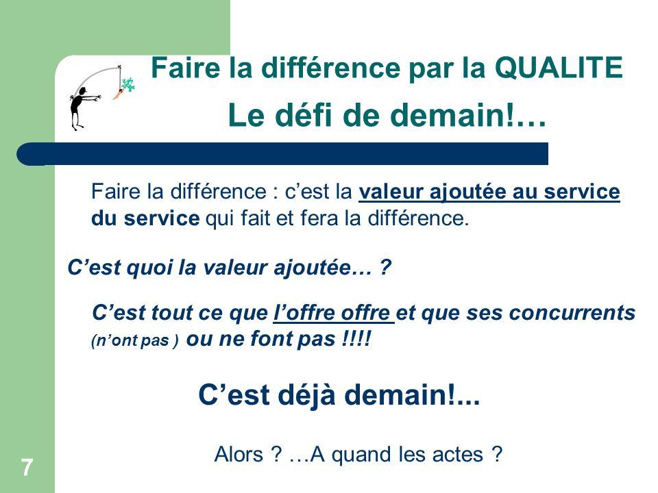 7 Faire la différence par la QUALITE Le défi de demain!… Faire la différence : cest la valeur ajoutée au service du service qui fait et fera la différence.
