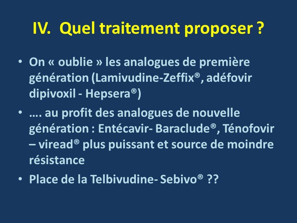IV. Quel traitement proposer ? On « oublie » les analogues de première génération (Lamivudine-Zeffix®, adéfovir dipivoxil - Hepsera®) …. au profit des