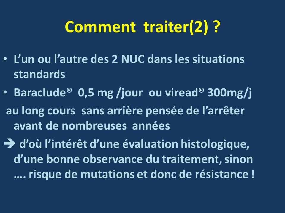 Comment traiter(2) ? Lun ou lautre des 2 NUC dans les situations standards Baraclude® 0,5 mg /jour ou viread® 300mg/j au long cours sans arrière pensé