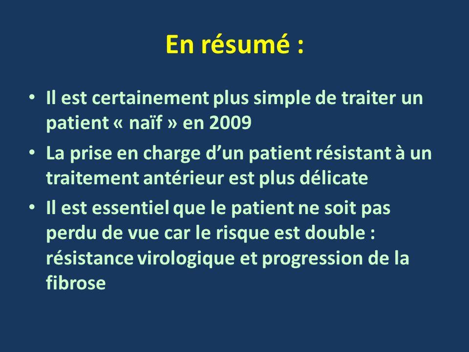 En résumé : Il est certainement plus simple de traiter un patient « naïf » en 2009 La prise en charge dun patient résistant à un traitement antérieur