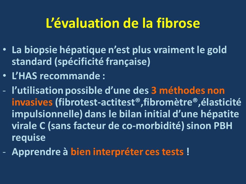 Lévaluation de la fibrose La biopsie hépatique nest plus vraiment le gold standard (spécificité française) LHAS recommande : -lutilisation possible du