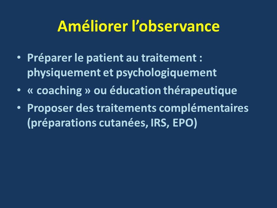 Améliorer lobservance Préparer le patient au traitement : physiquement et psychologiquement « coaching » ou éducation thérapeutique Proposer des trait