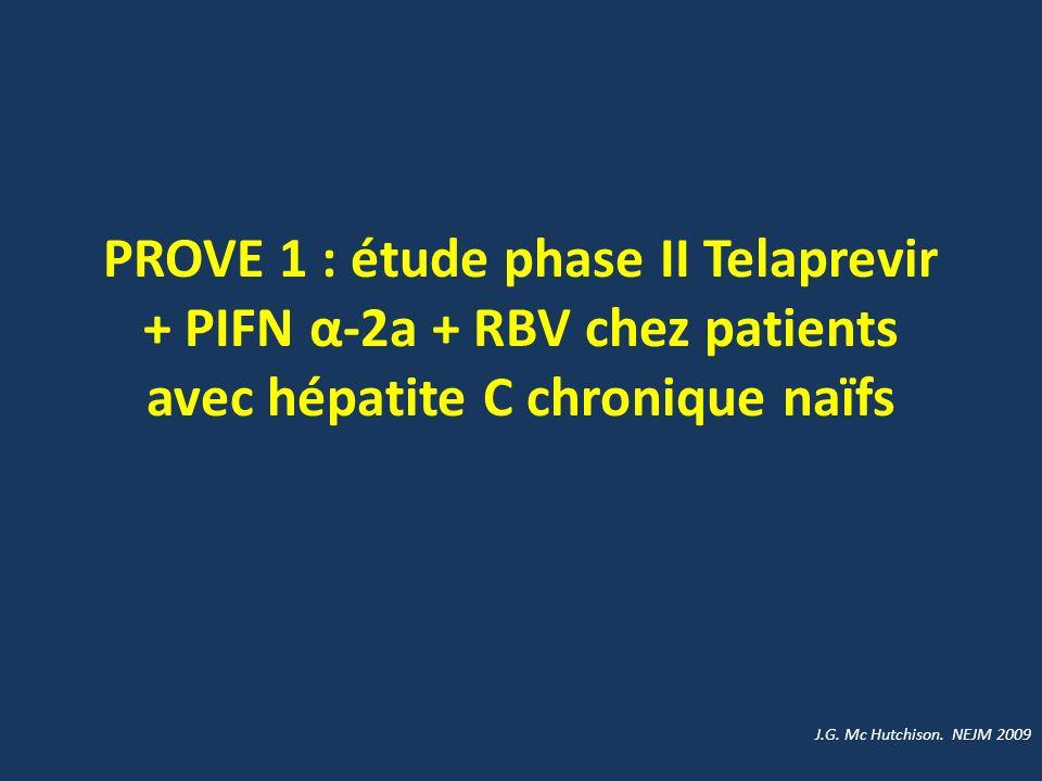 PROVE 1 : étude phase II Telaprevir + PIFN α-2a + RBV chez patients avec hépatite C chronique naïfs J.G. Mc Hutchison. NEJM 2009