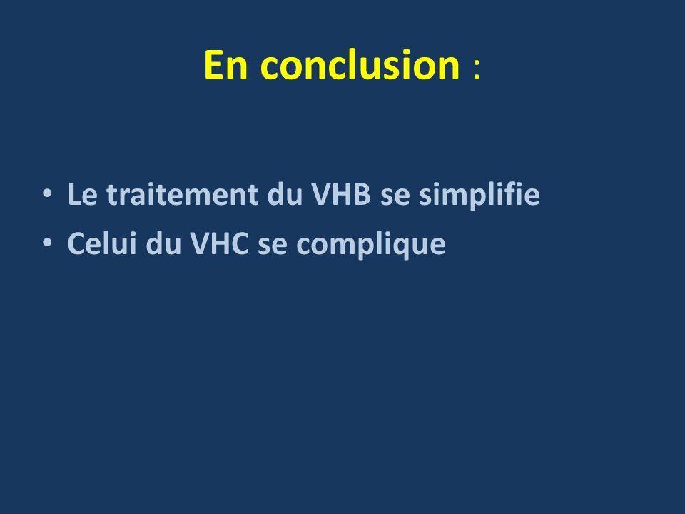 En conclusion : Le traitement du VHB se simplifie Celui du VHC se complique