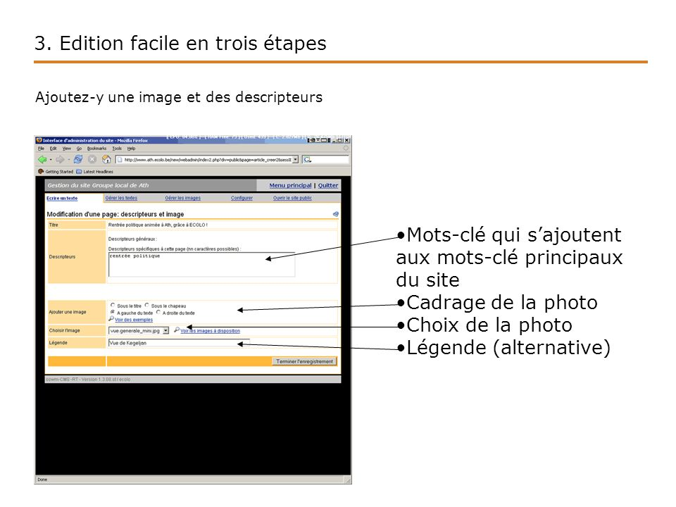 3.Edition facile en trois étapes Votre page est créée.