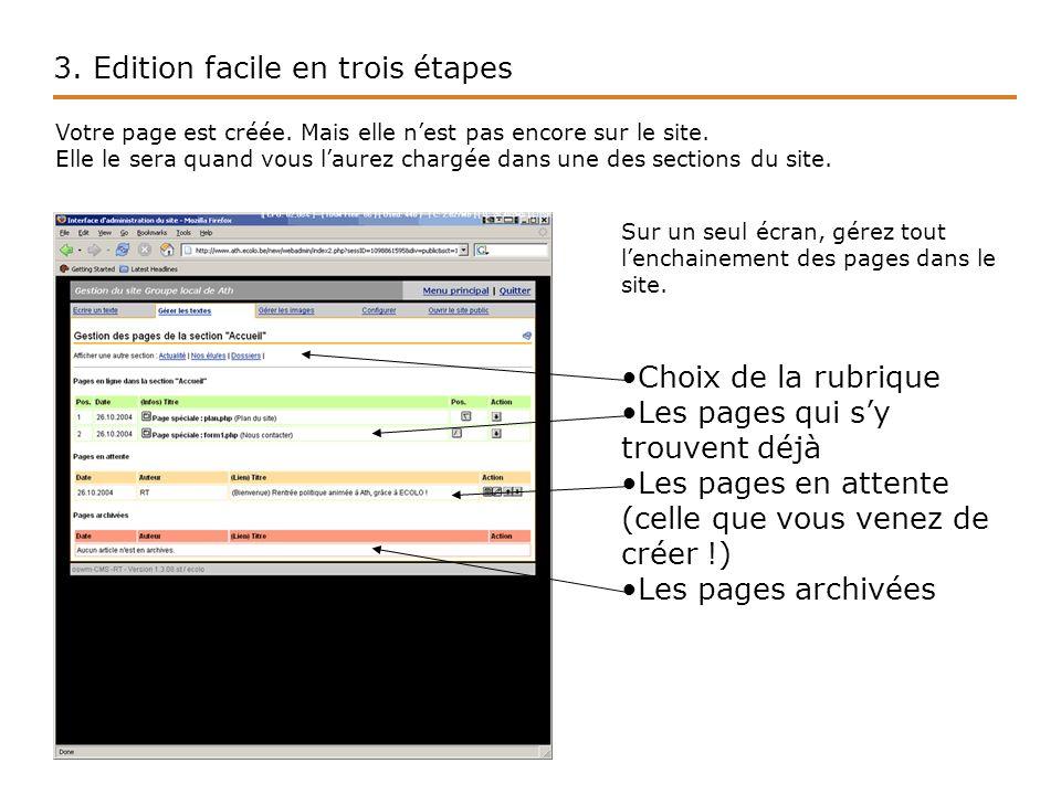 3. Edition facile en trois étapes Votre page est créée.