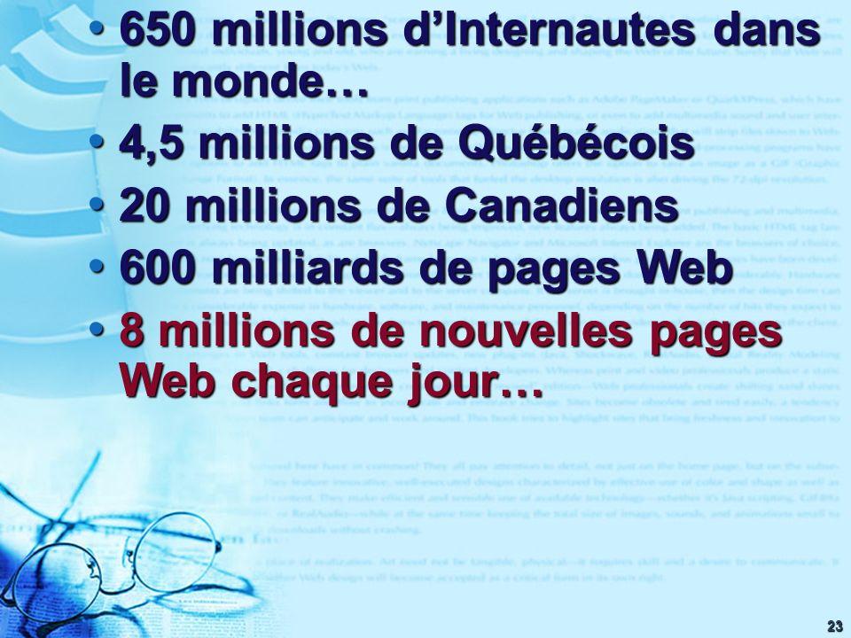 23 650 millions dInternautes dans le monde… 650 millions dInternautes dans le monde… 4,5 millions de Québécois 4,5 millions de Québécois 20 millions d