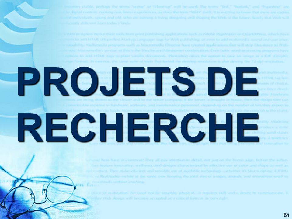 51 PROJETS DE RECHERCHE