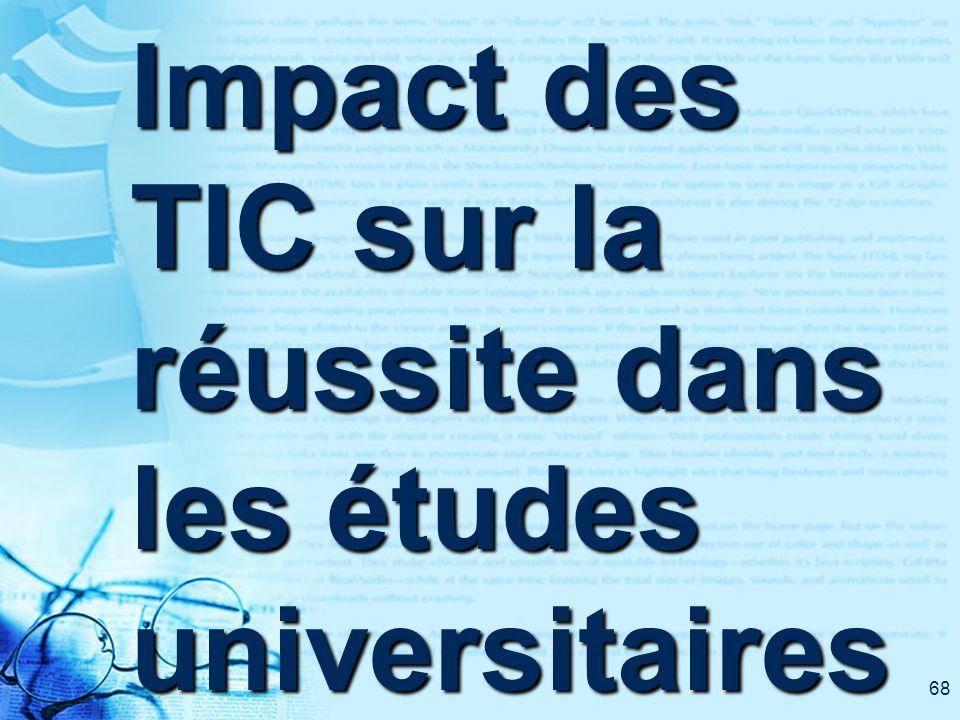 68 Impact des TIC sur la réussite dans les études universitaires