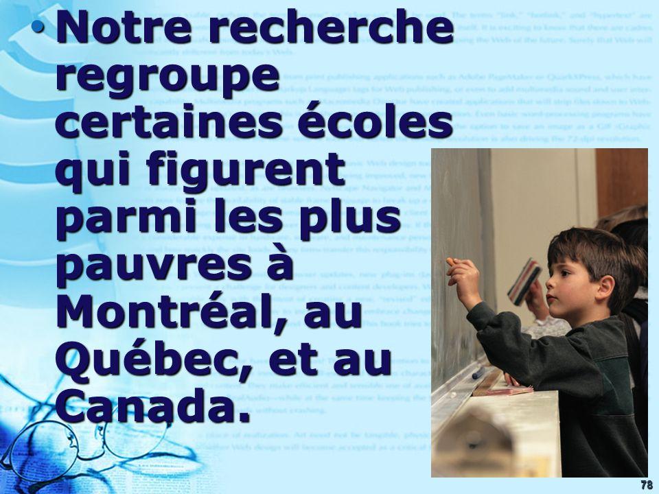78 Notre recherche regroupe certaines écoles qui figurent parmi les plus pauvres à Montréal, au Québec, et au Canada. Notre recherche regroupe certain