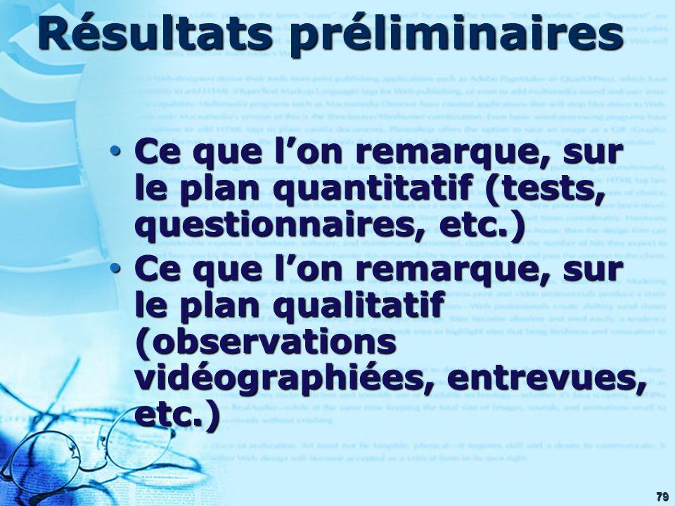 79 Résultats préliminaires Ce que lon remarque, sur le plan quantitatif (tests, questionnaires, etc.) Ce que lon remarque, sur le plan quantitatif (te