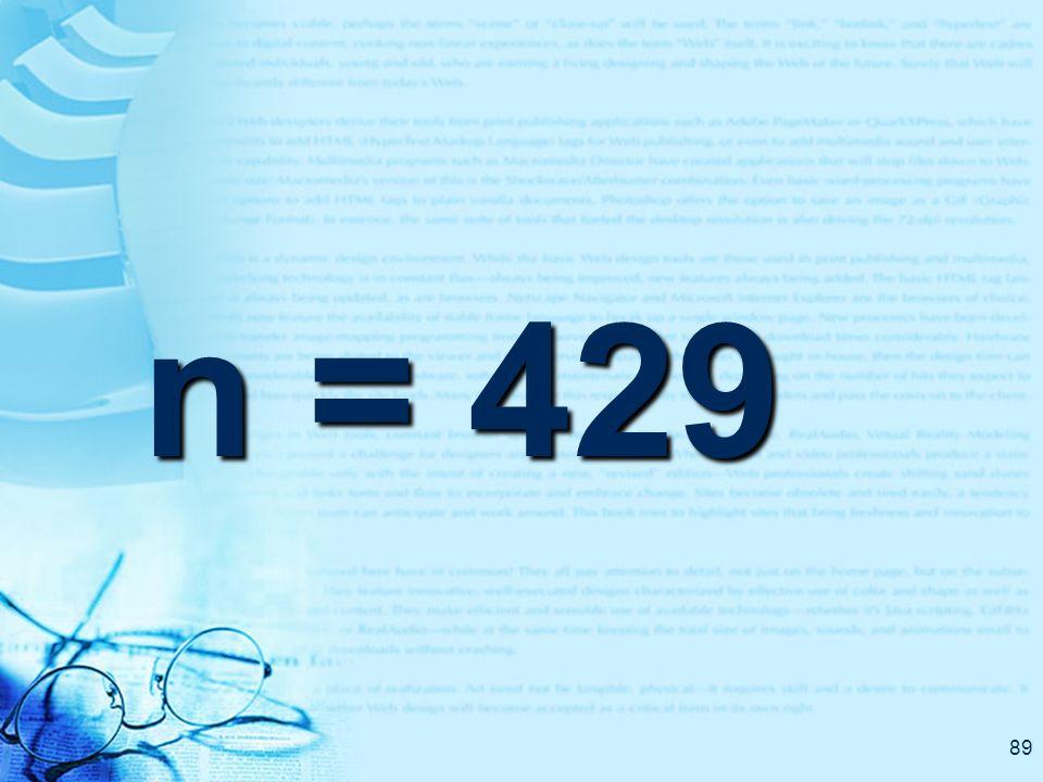 89 n = 429