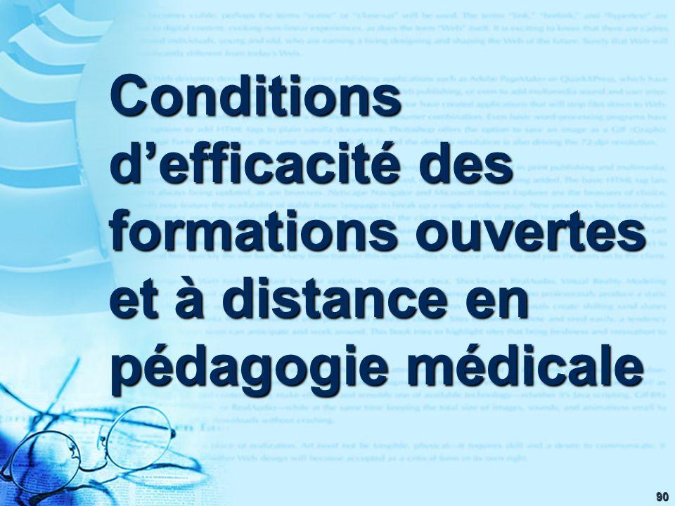 90 Conditions defficacité des formations ouvertes et à distance en pédagogie médicale