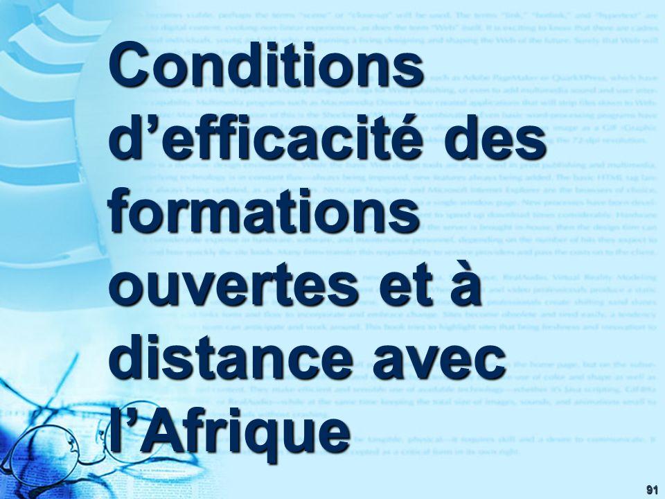 91 Conditions defficacité des formations ouvertes et à distance avec lAfrique