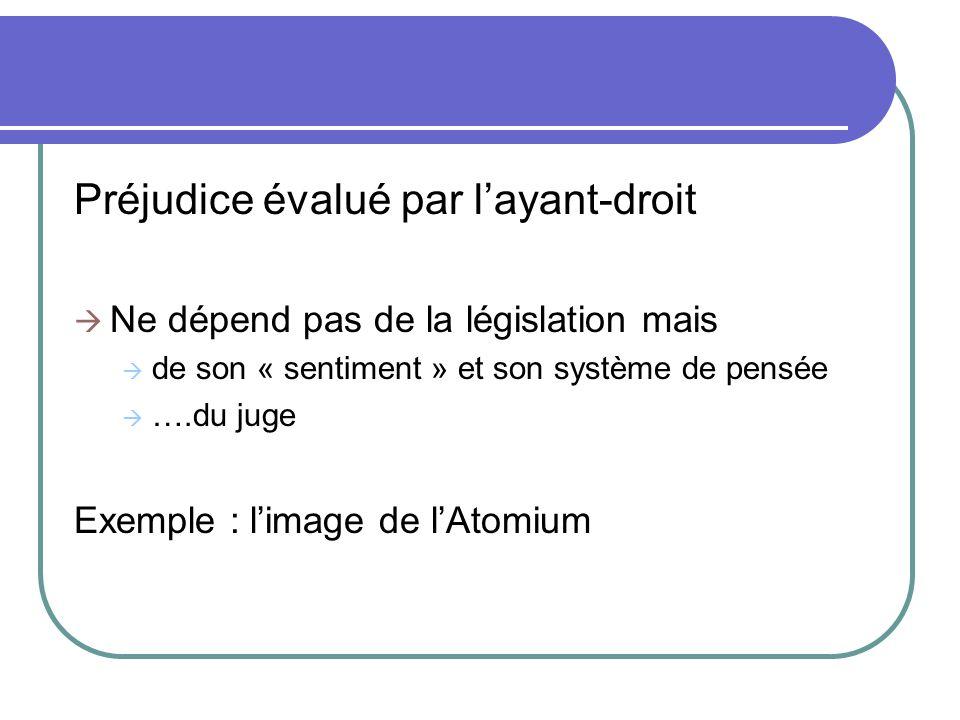 Préjudice évalué par layant-droit Ne dépend pas de la législation mais de son « sentiment » et son système de pensée ….du juge Exemple : limage de lAt