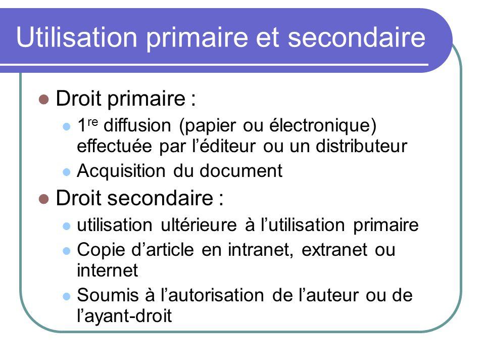 Utilisation primaire et secondaire Droit primaire : 1 re diffusion (papier ou électronique) effectuée par léditeur ou un distributeur Acquisition du d