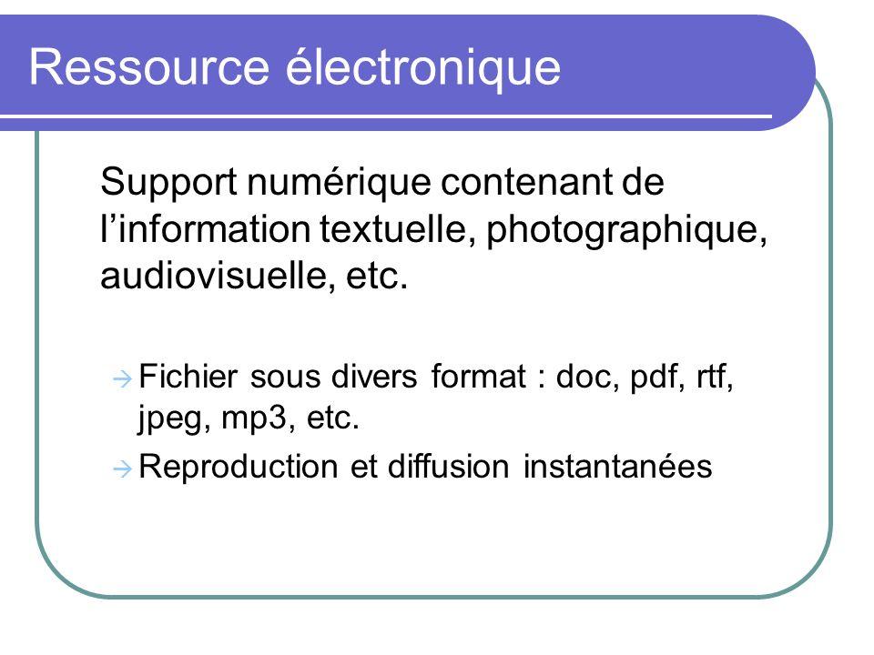 Ressource électronique Support numérique contenant de linformation textuelle, photographique, audiovisuelle, etc. Fichier sous divers format : doc, pd