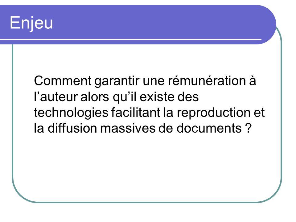 Enjeu Comment garantir une rémunération à lauteur alors quil existe des technologies facilitant la reproduction et la diffusion massives de documents