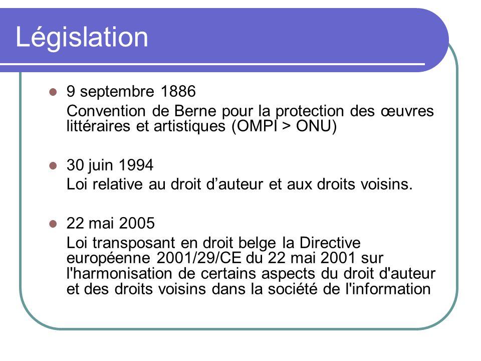 9 septembre 1886 Convention de Berne pour la protection des œuvres littéraires et artistiques (OMPI > ONU) 30 juin 1994 Loi relative au droit dauteur