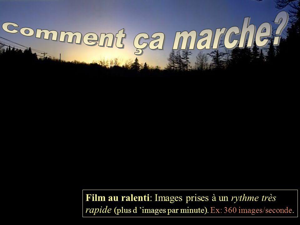 Film au ralenti: Images prises à un rythme très rapide (plus d images par minute).