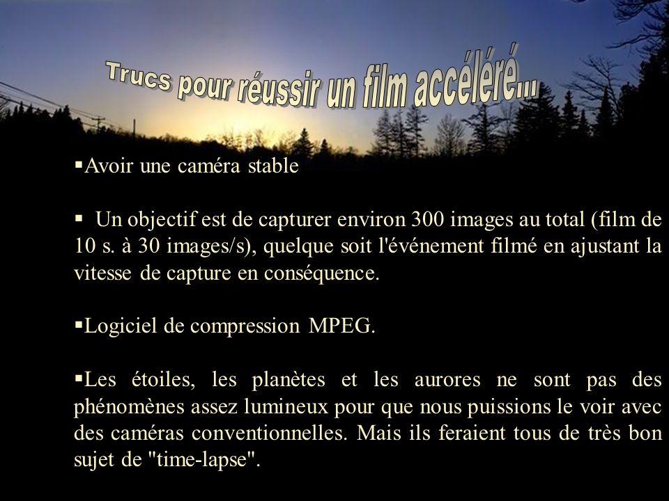 Avoir une caméra stable Un objectif est de capturer environ 300 images au total (film de 10 s.