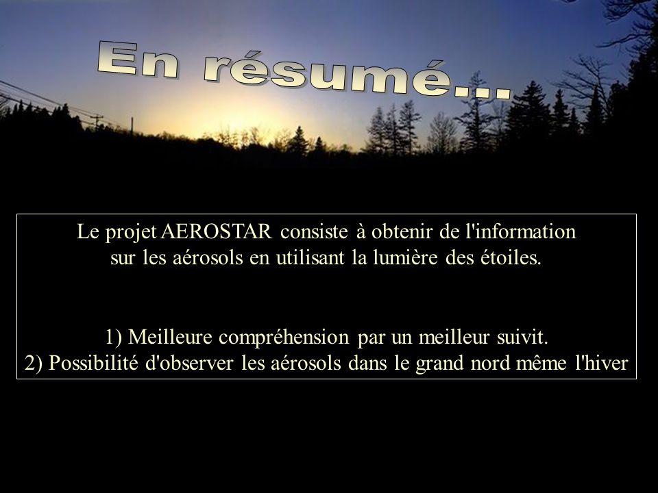 Le projet AEROSTAR consiste à obtenir de l information sur les aérosols en utilisant la lumière des étoiles.