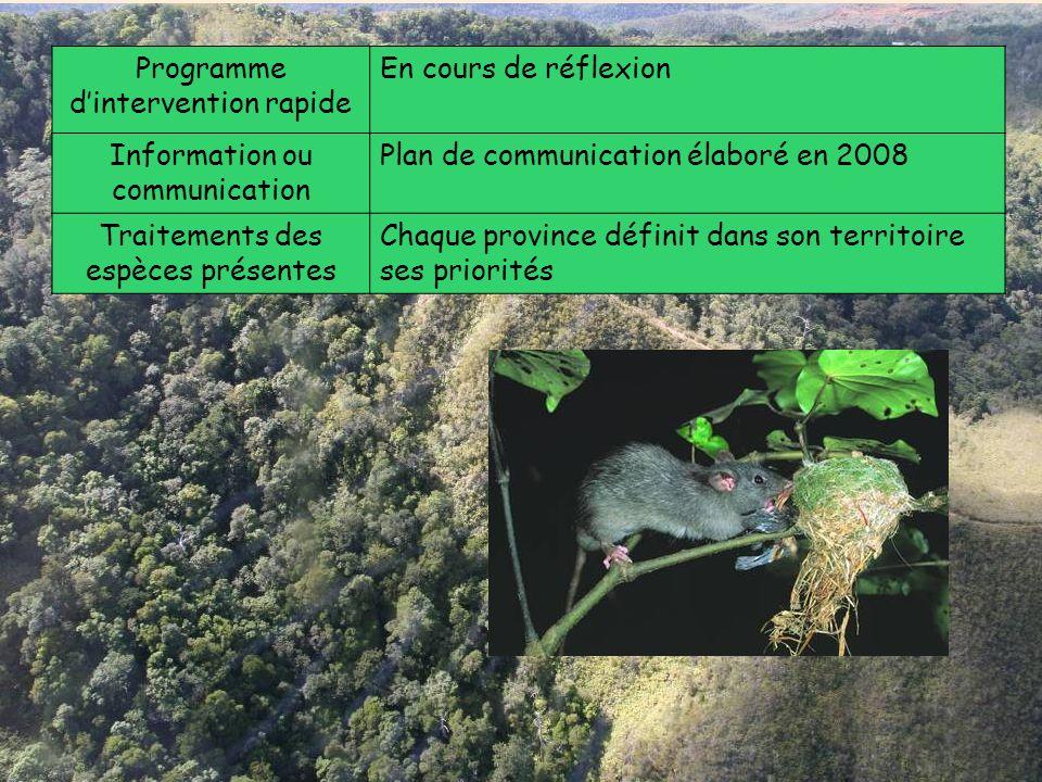 Programme dintervention rapide En cours de réflexion Information ou communication Plan de communication élaboré en 2008 Traitements des espèces présen