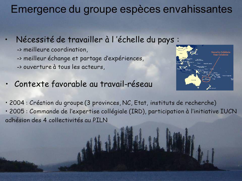 Emergence du groupe espèces envahissantes Nécessité de travailler à l échelle du pays : -> meilleure coordination, -> meilleur échange et partage dexp