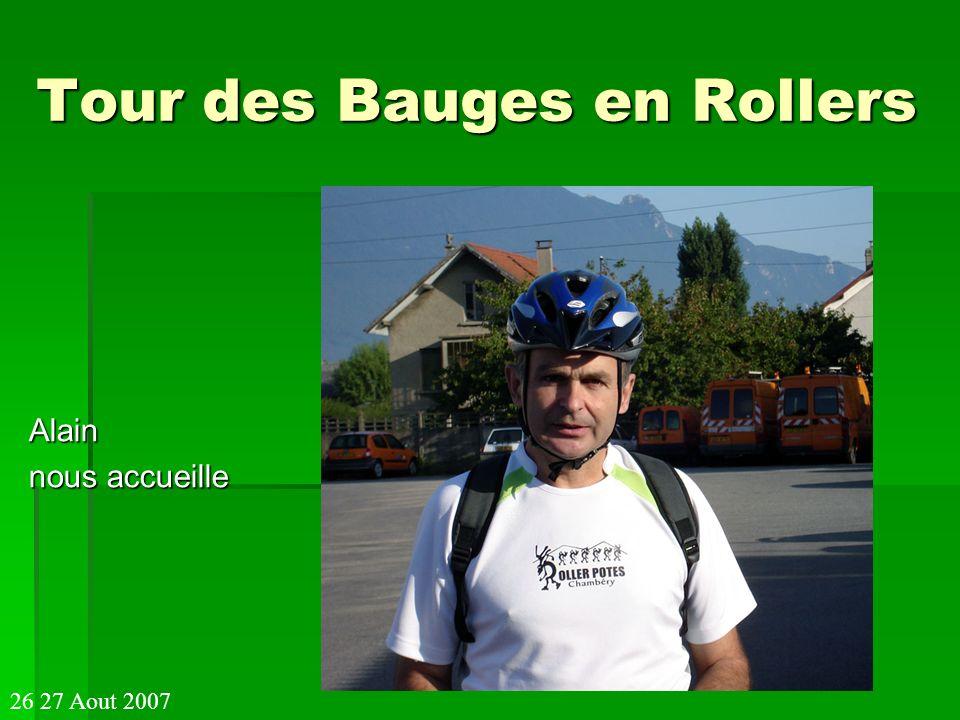 Tour des Bauges en Rollers Casse croute de midi à Chamoux sur Gelon 128km 26 27 Aout 2007